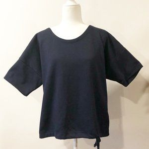 J Crew Navy Blue Top with Bottom Tie.  Size XL
